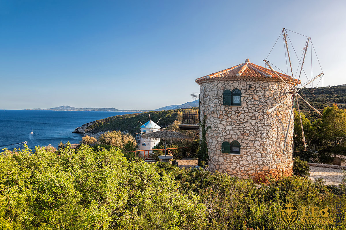 View of the old windmills, island of Zakynthos, Greece