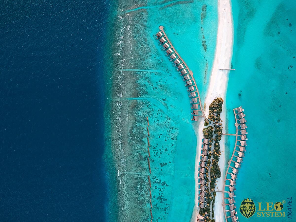 Stunning aerial view of the island Kuramathi