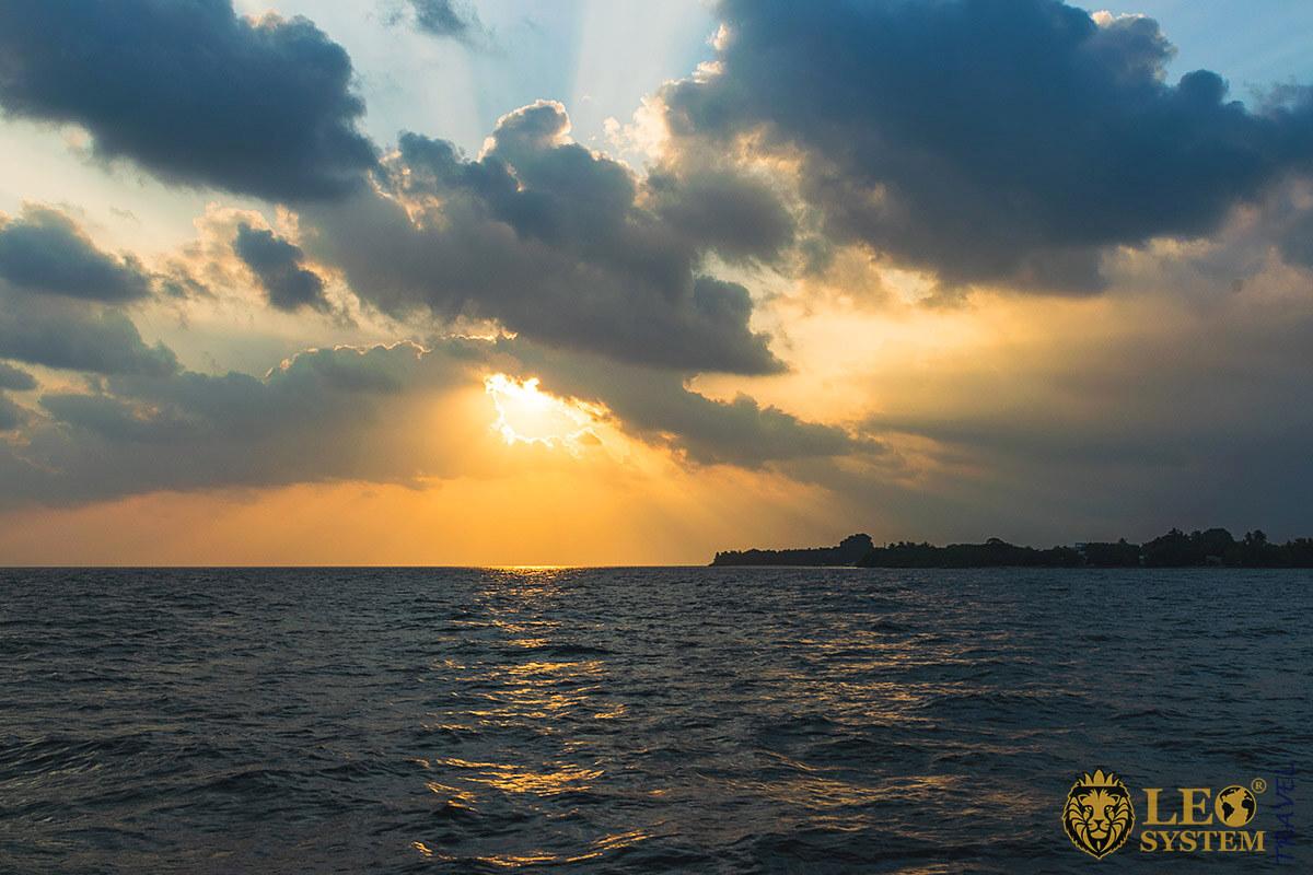 Beautiful view at the time of sunset on the island of Kuramathi
