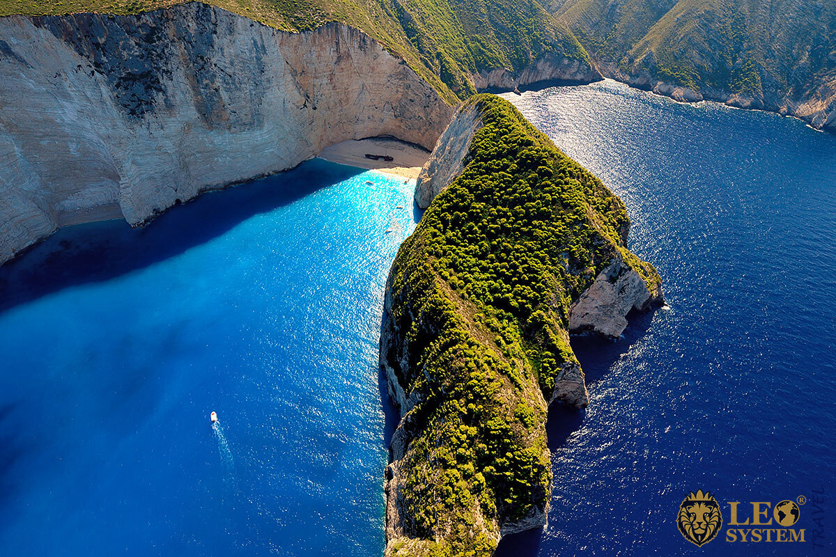 Stunning aerial views of the mountains and the Ionian Sea, island of Zakynthos, Greece