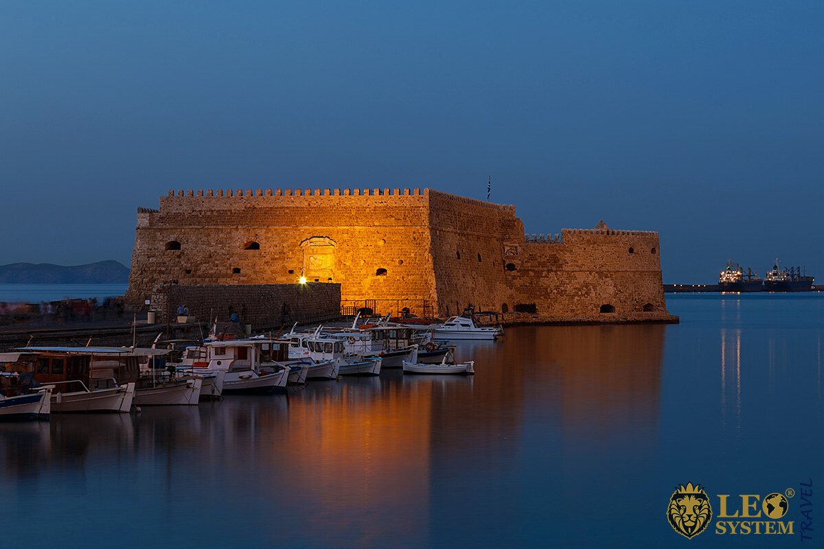 Evening view of the historic castle in the city of Heraklion, Greece