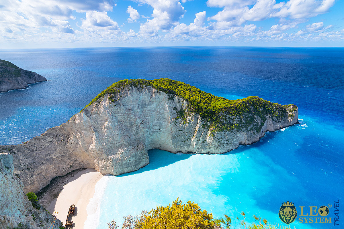 Beautiful aerial view of the Ionian Sea, Zakynthos Island