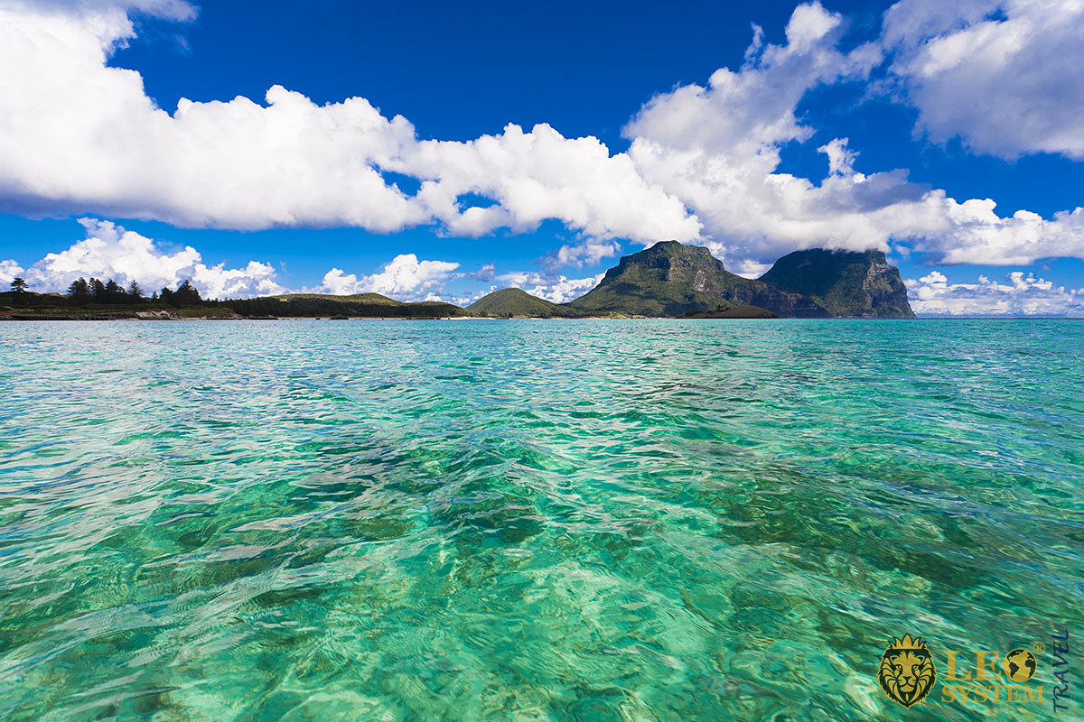 Image of Lord Howe Island and the ocean on a sunny day, Australia