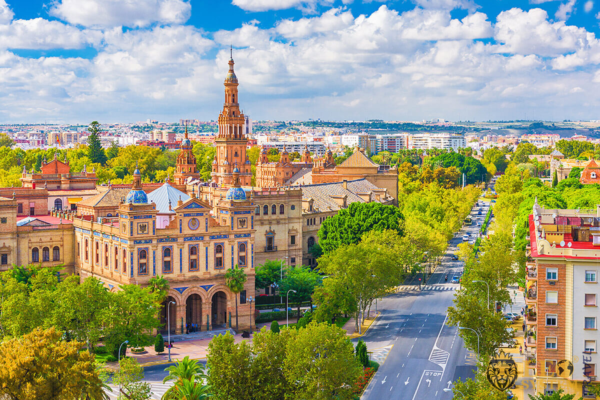 Panoramic view of the city of Seville, Spain