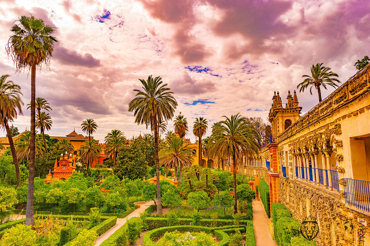 Image of a beautiful garden at the Royal Alcazar of Seville, Spain