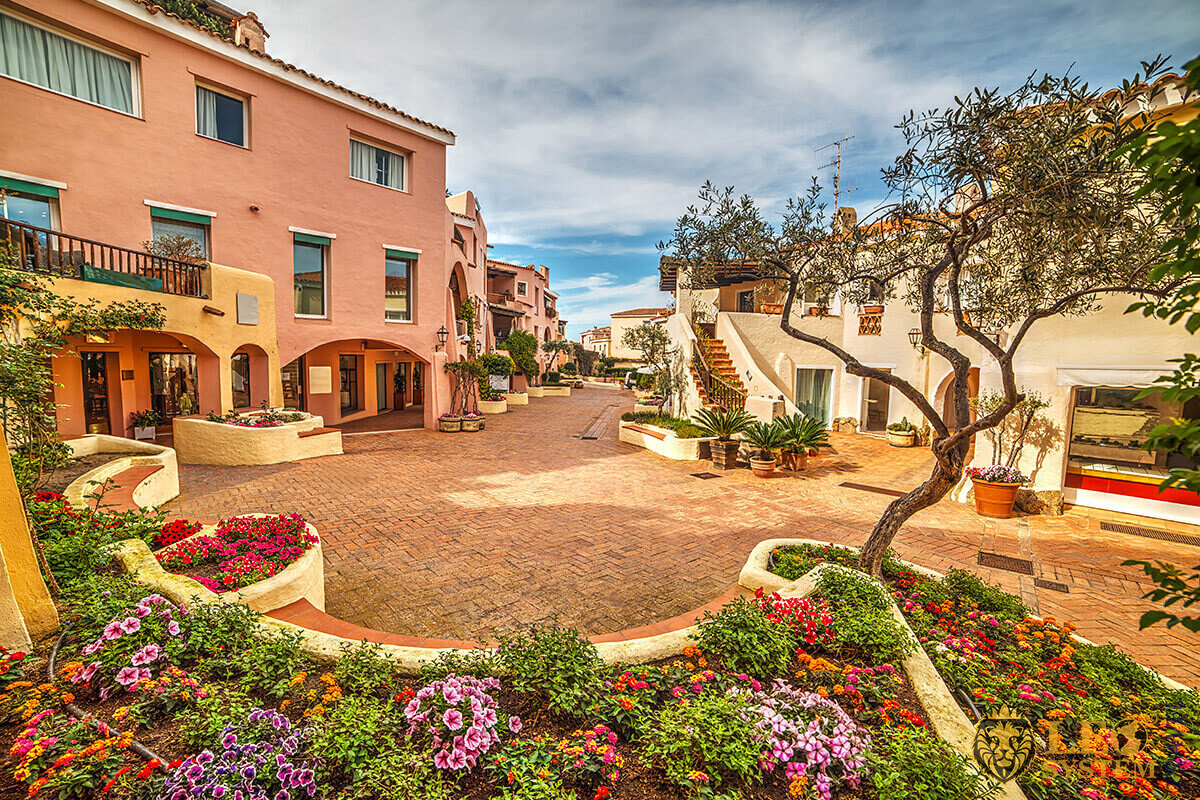 View of the street and houses, Sardinia, Italy