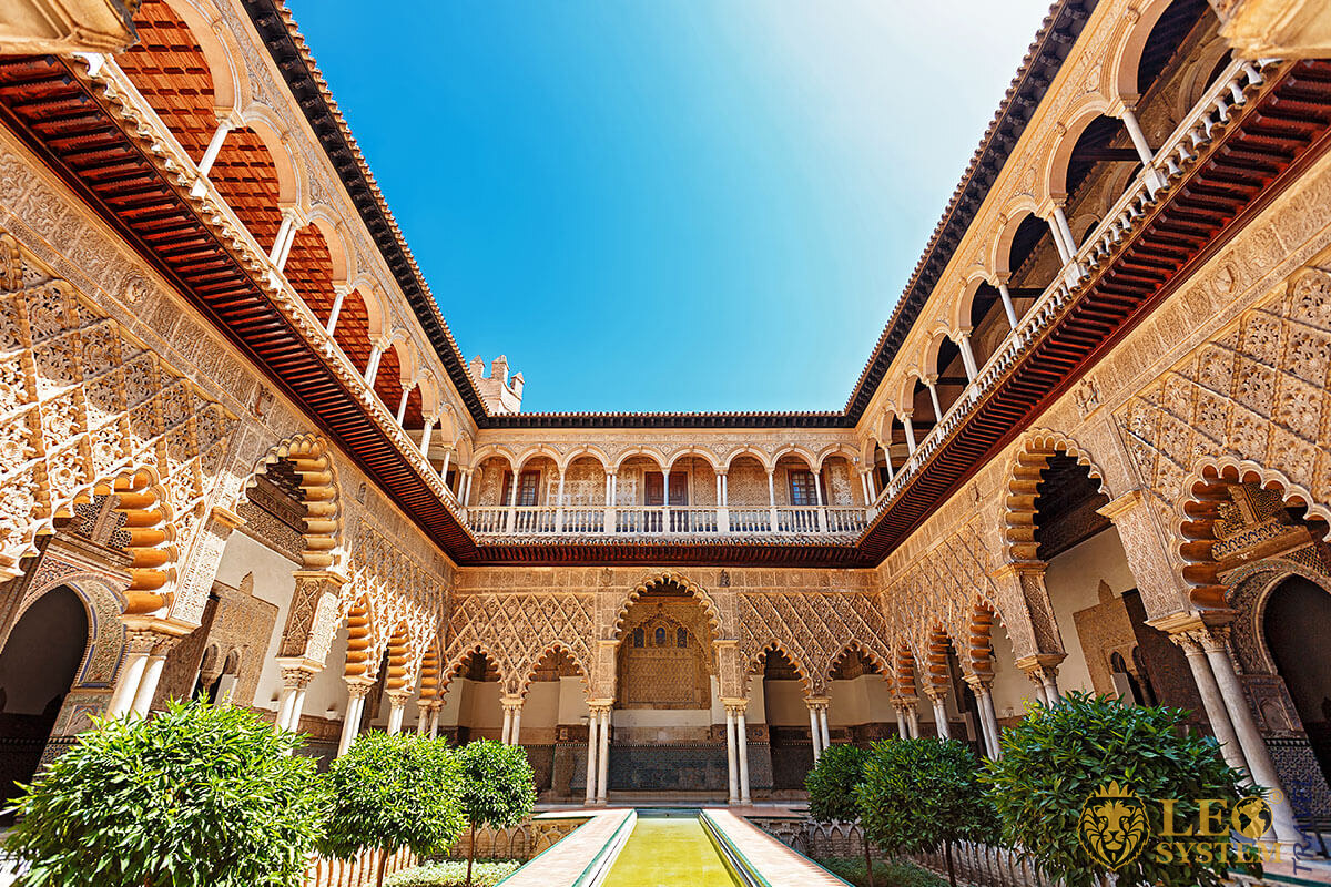 Interior view at Palace Alcazar, Seville, Spain