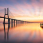 Image of the long Vasco da Gama Bridge, Portugal
