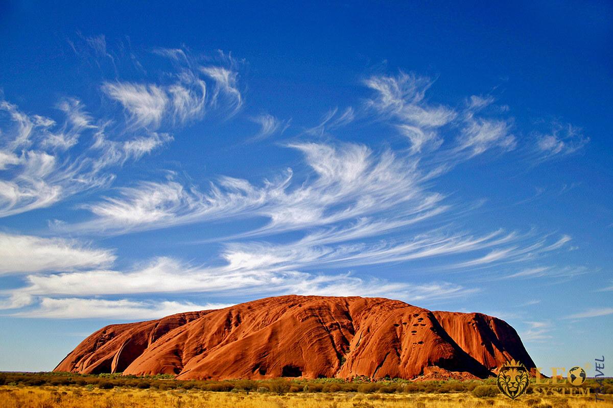 Magnificent view of the massive Uluru Rock, continent Australia