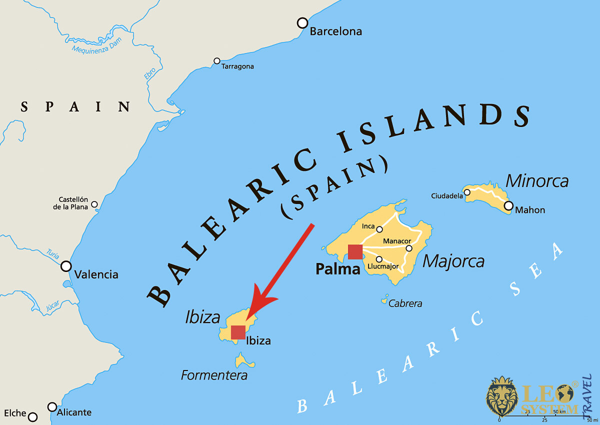 Image of a map showing the location of the island of Ibiza, Spain