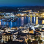 Panoramic view of the night island of Ibiza, Spain