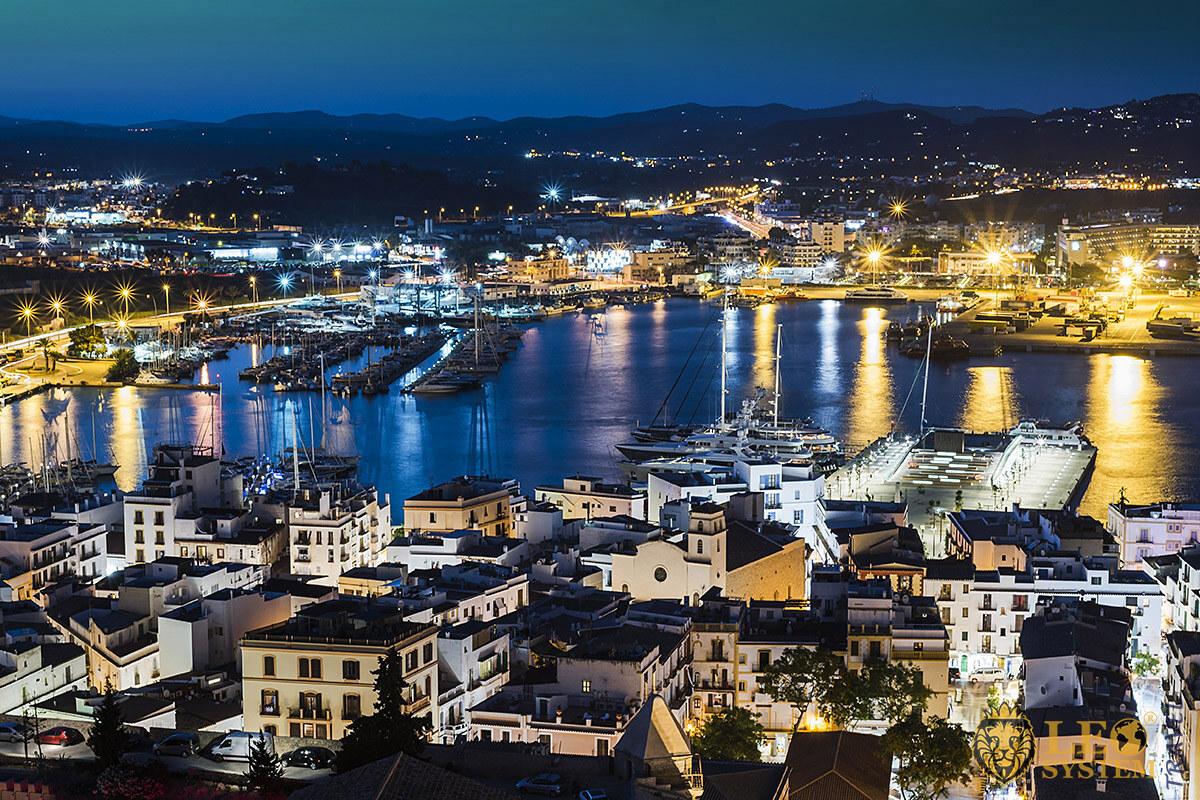 Panoramic view of the night island of Ibiza, Spain