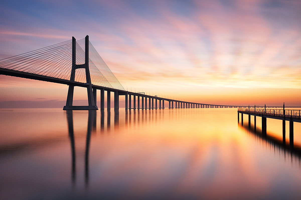 Image of the long Vasco da Gama Bridge, country Portugal