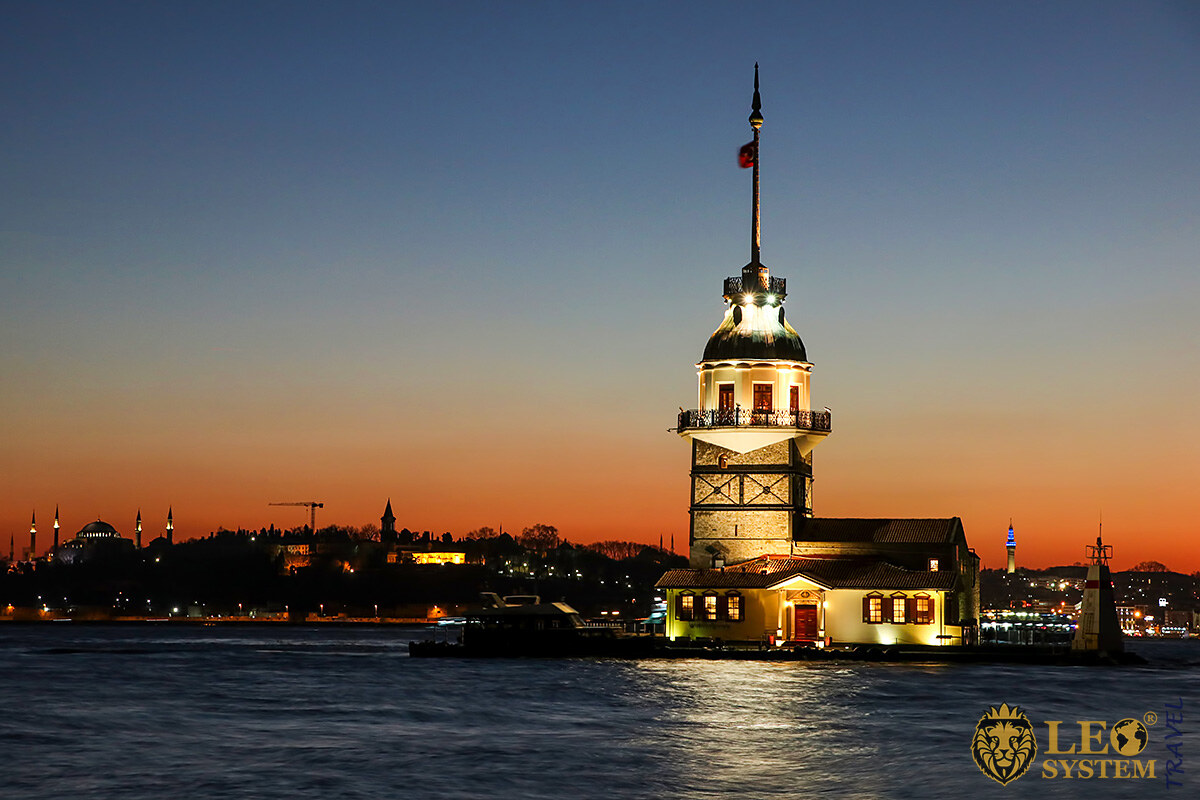 Night view of the Maiden Tower, city of Istanbul