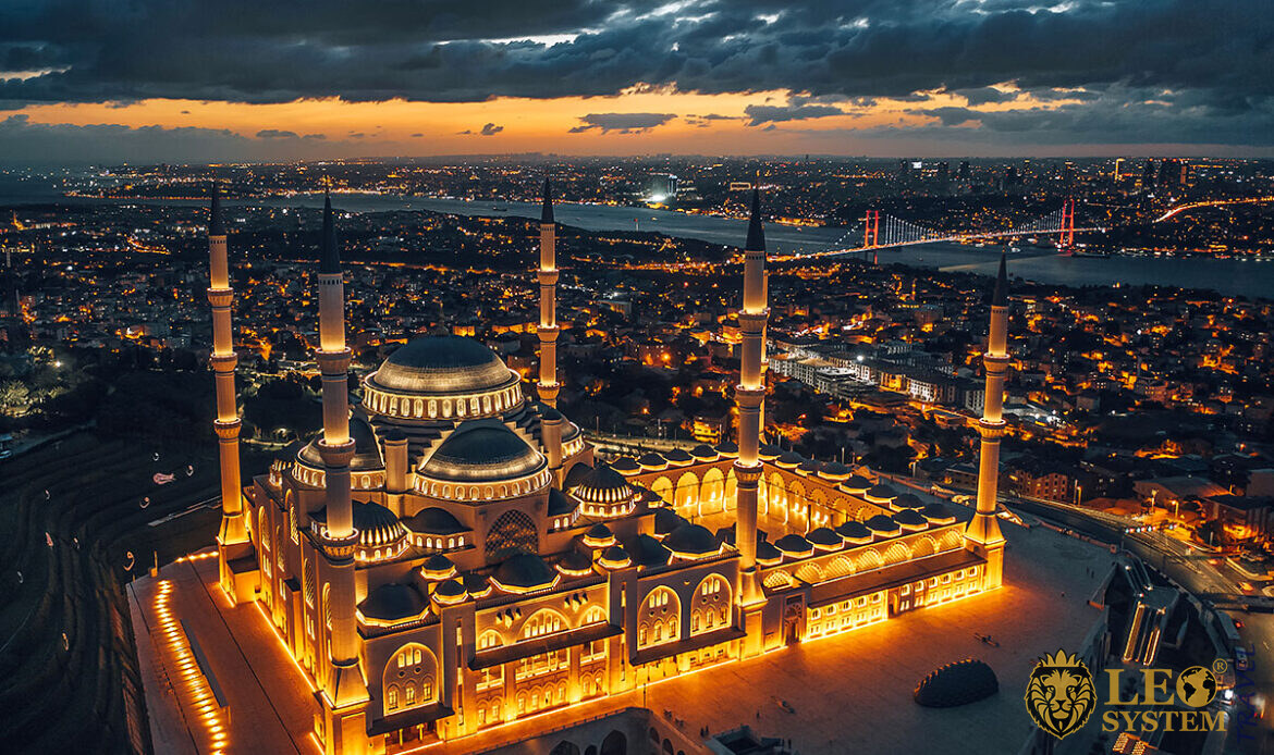 View at the time of sunset on the Camlica Mosque, Istanbul, Turkey