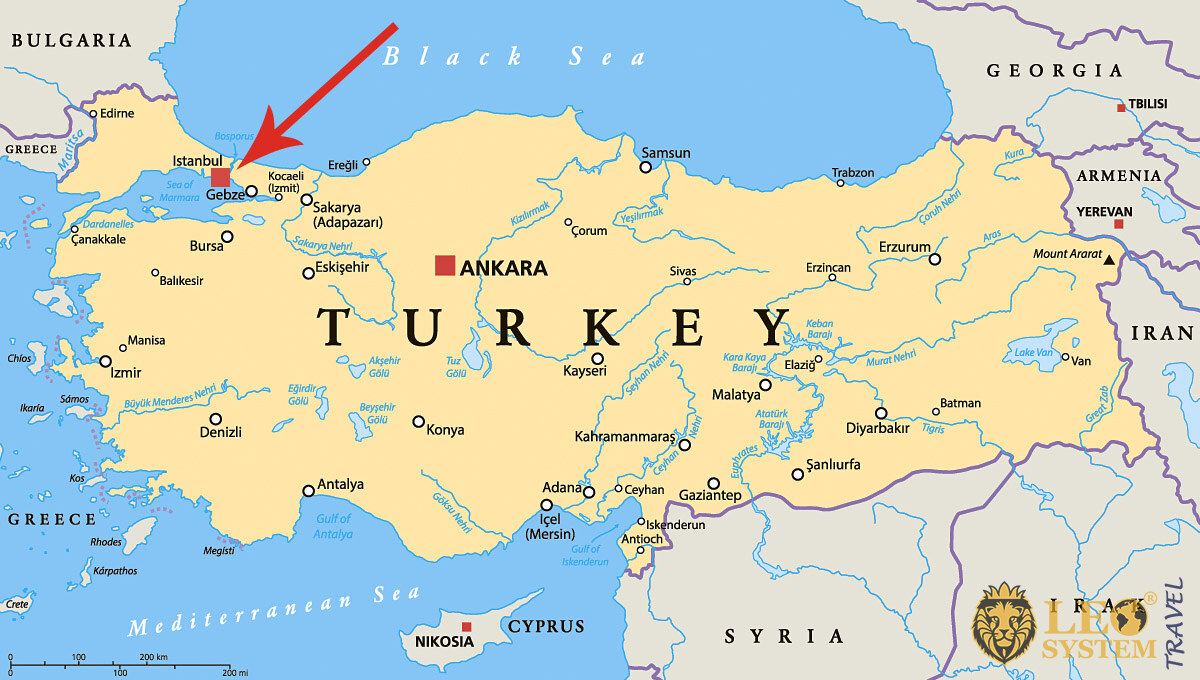 Image of a map showing the location of the city of Istanbul, Turkey