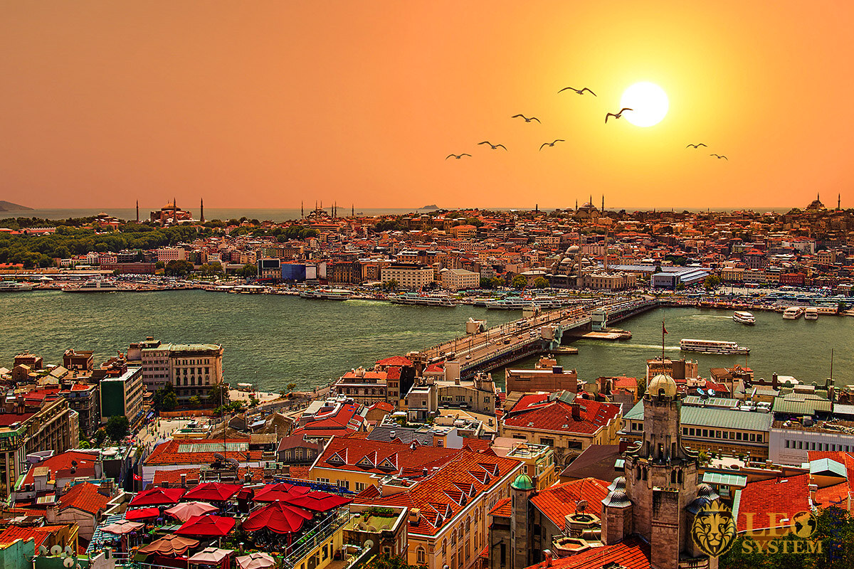 Magnificent panoramic view of the city of Istanbul, Turkey