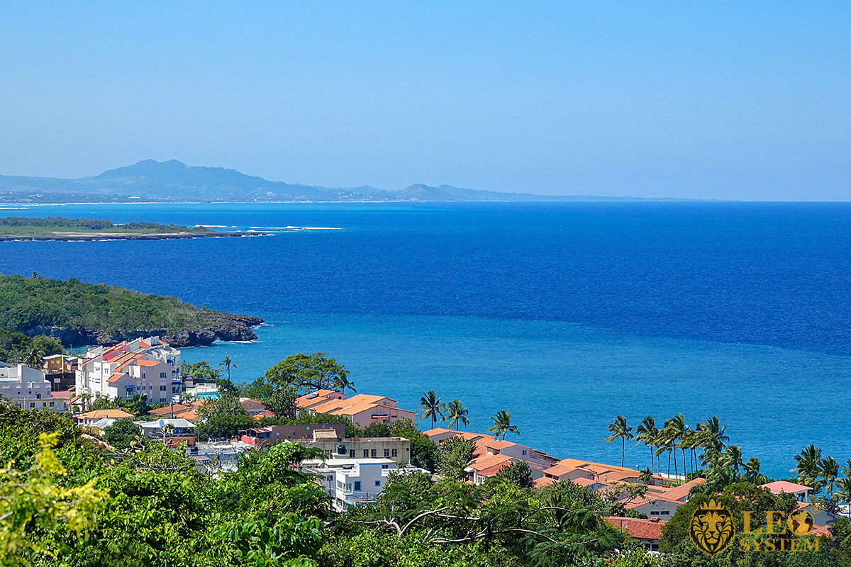 Panoramic view of houses and villas, town of Sosua, Dominican Republic