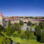 Panoramic view of city buildings, city of Ostrava, Czech Republic