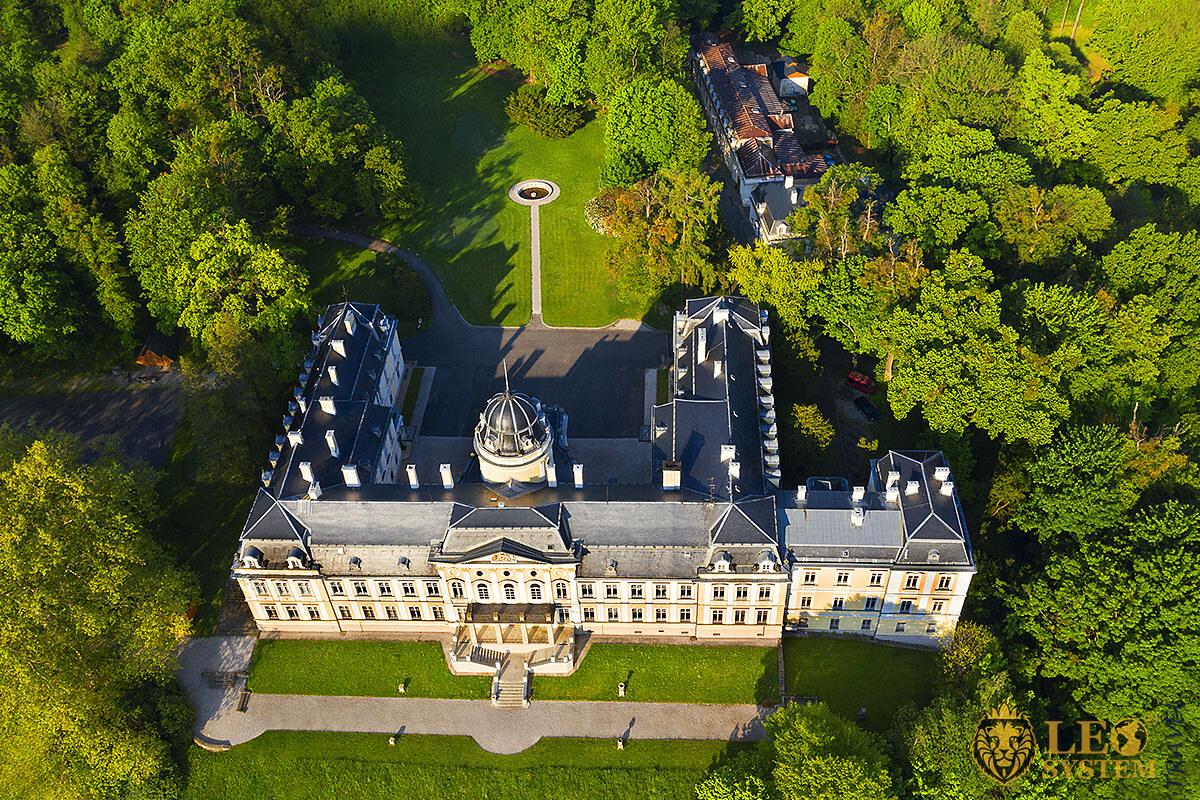 Aerial view of the Ancient Castle, Ostrava, Czech Republic