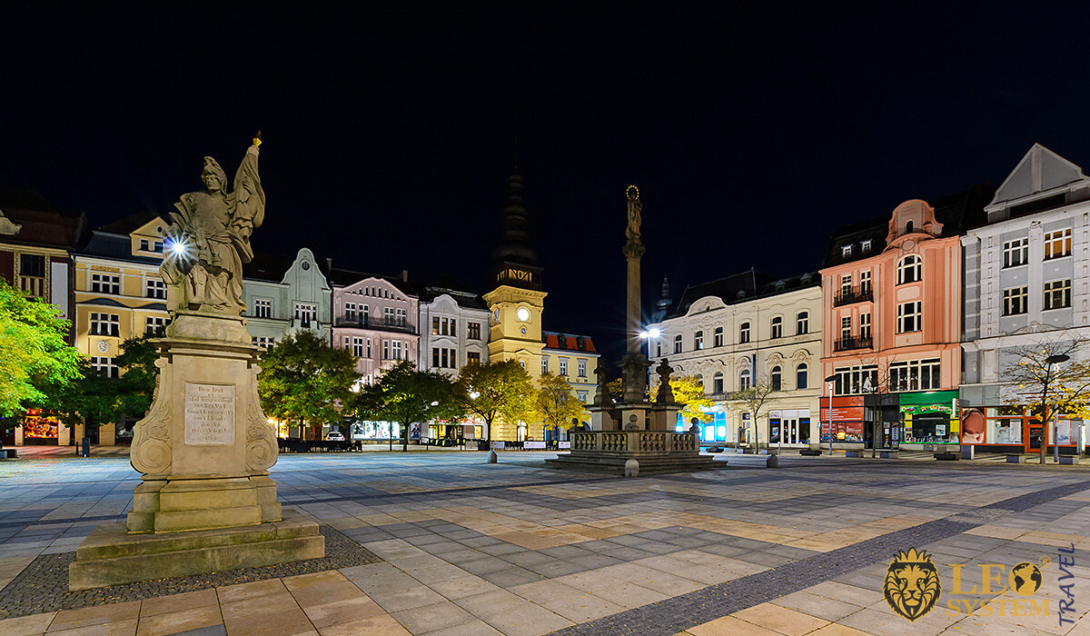 Evening view of the Central Square in the city of Ostrava, Czech Republic