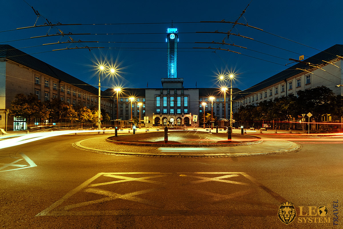 Night view of City Hall and Prokes Square, city of Ostrava