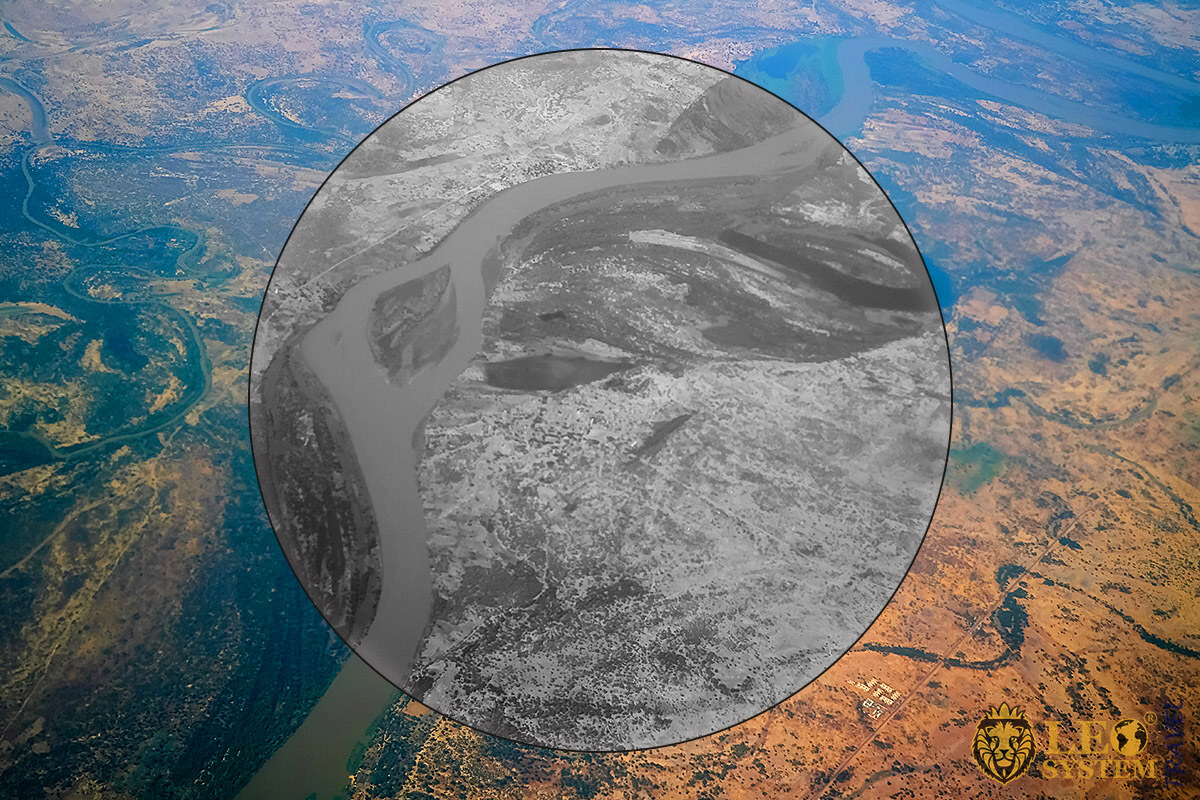 Panoramic view from above on Shari River, Central African Republic