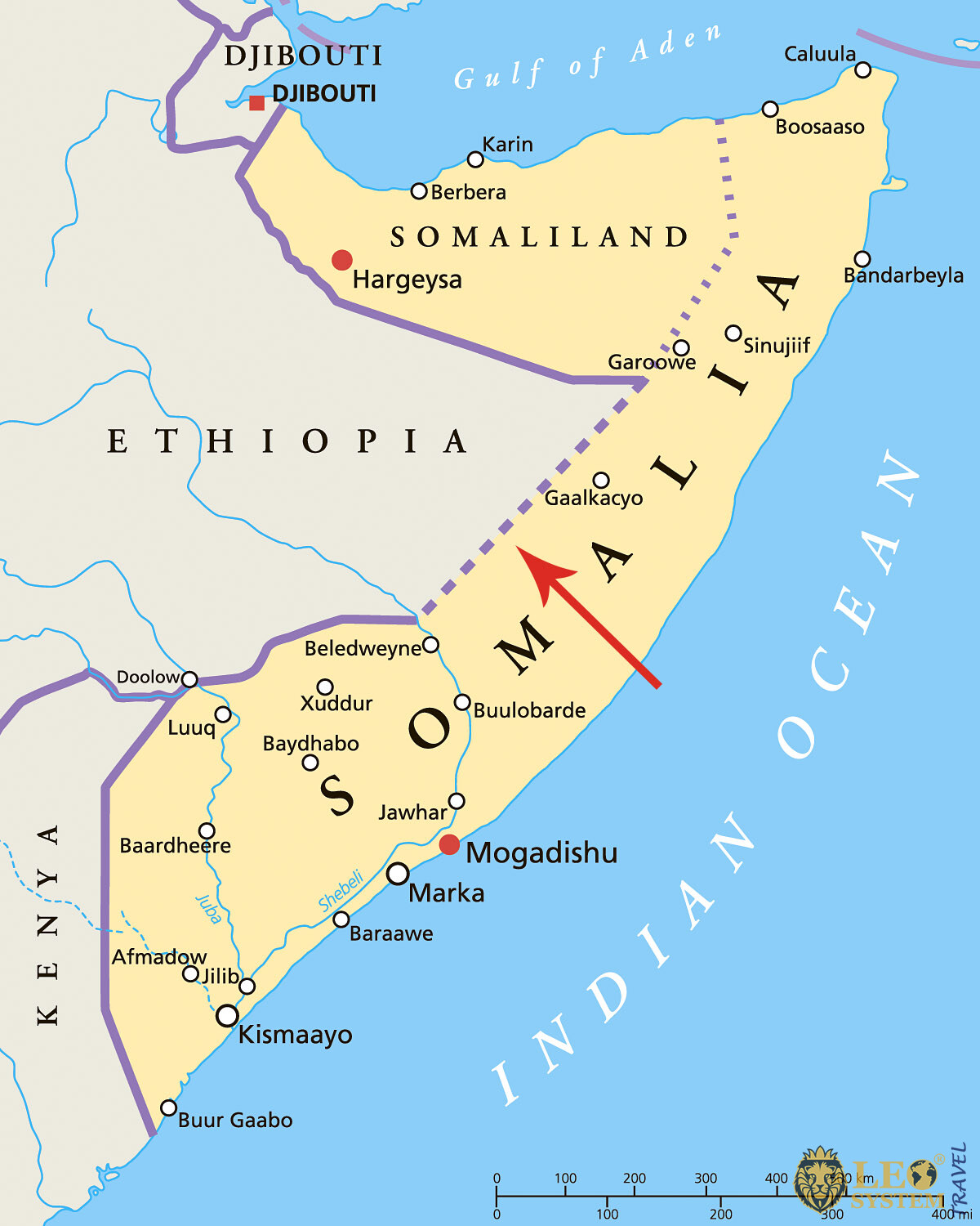 Image of a map showing the location of Jubba River, African Continent