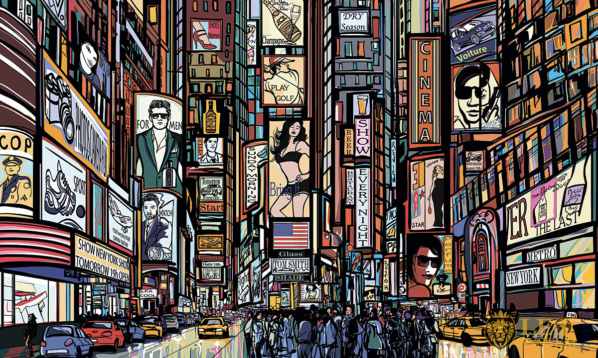 Image of New York with many different places and people, USA