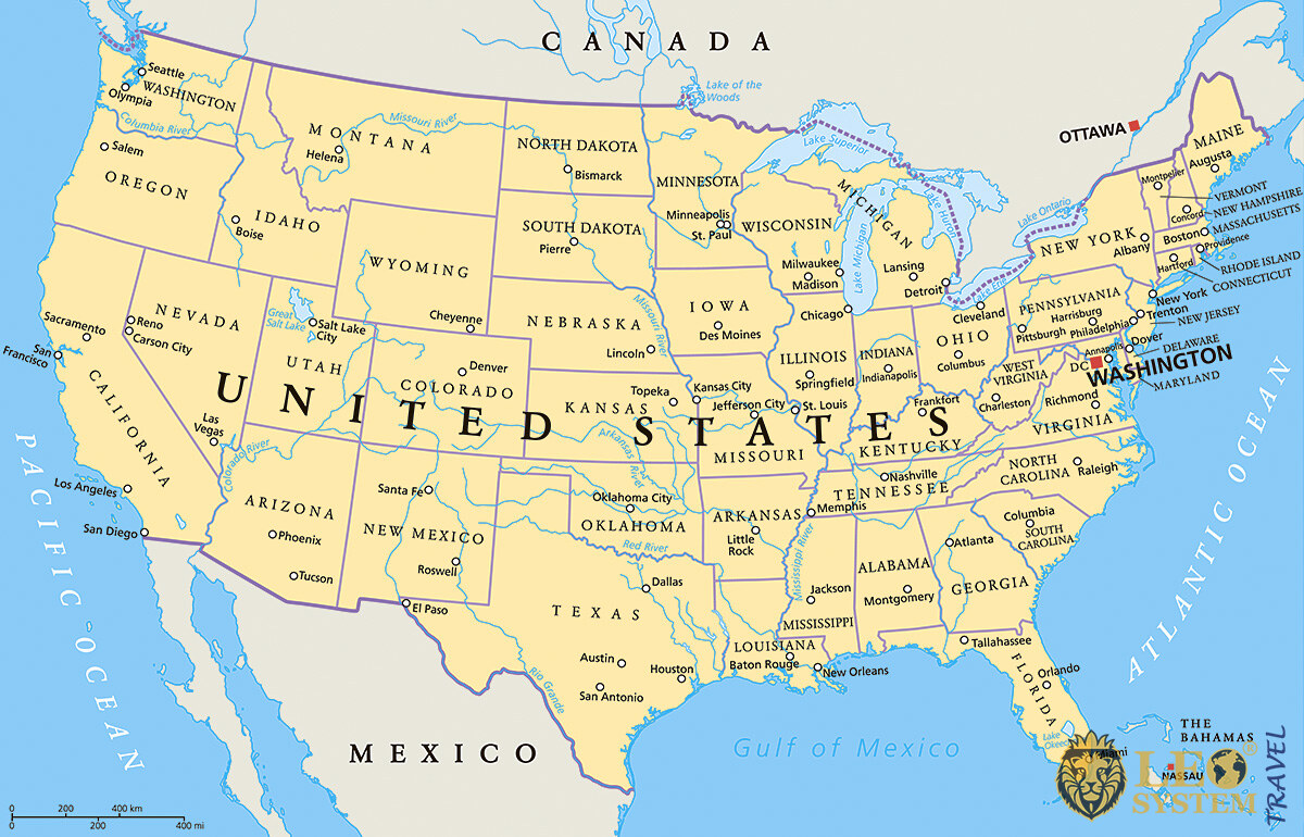 Image of a map with the territory of the United States of America