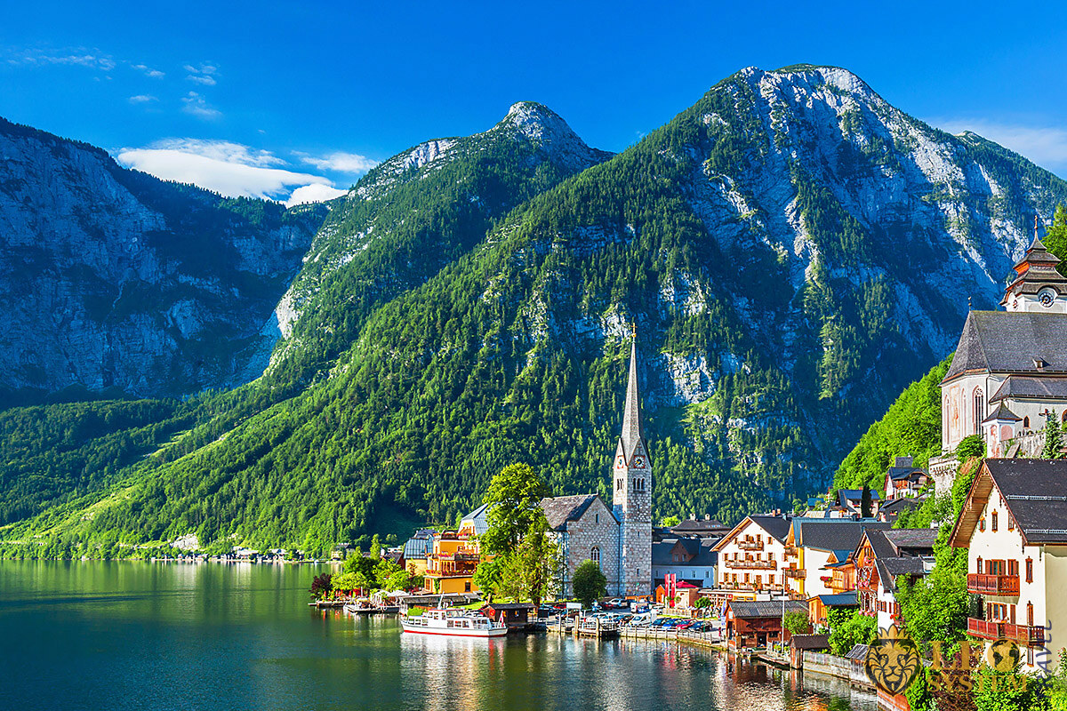 Beautiful view of mountains in the town of Hallstatt, Austria