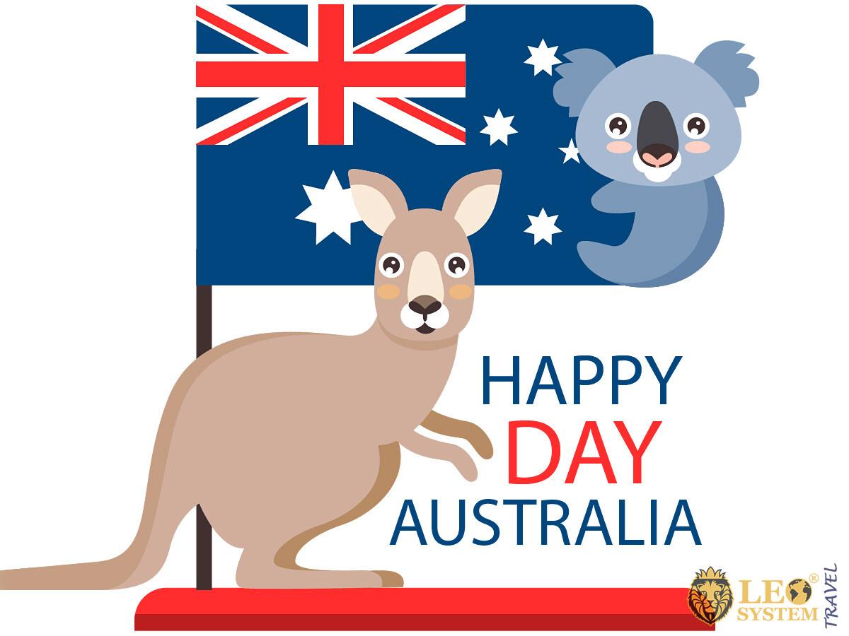Image of a kangaroo with the Australian flag