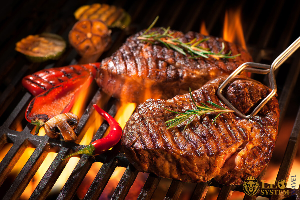 Delicious grilled meat on the wire rack